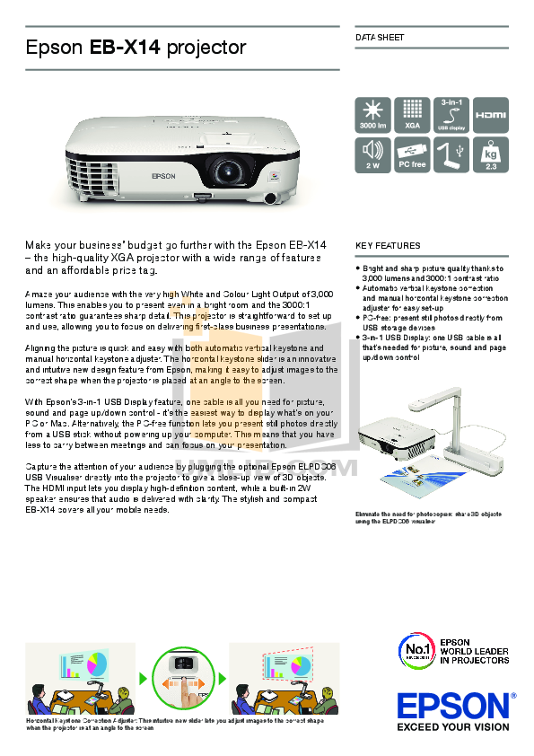 pdf for Epson Projector PowerLite 1880 manual