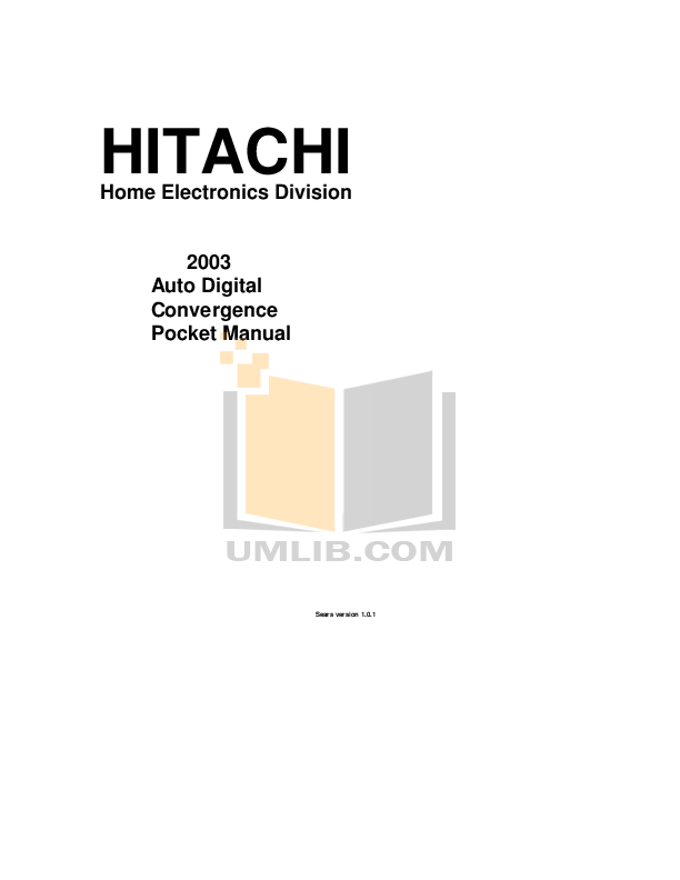 pdf for Hitachi TV 53SDX20BB manual