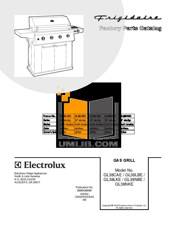 pdf for Frigidaire Grill GL38NKEC manual