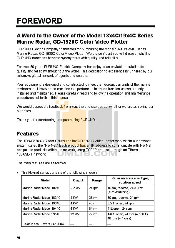 Furuno Other 1824C Marine Radar pdf page preview