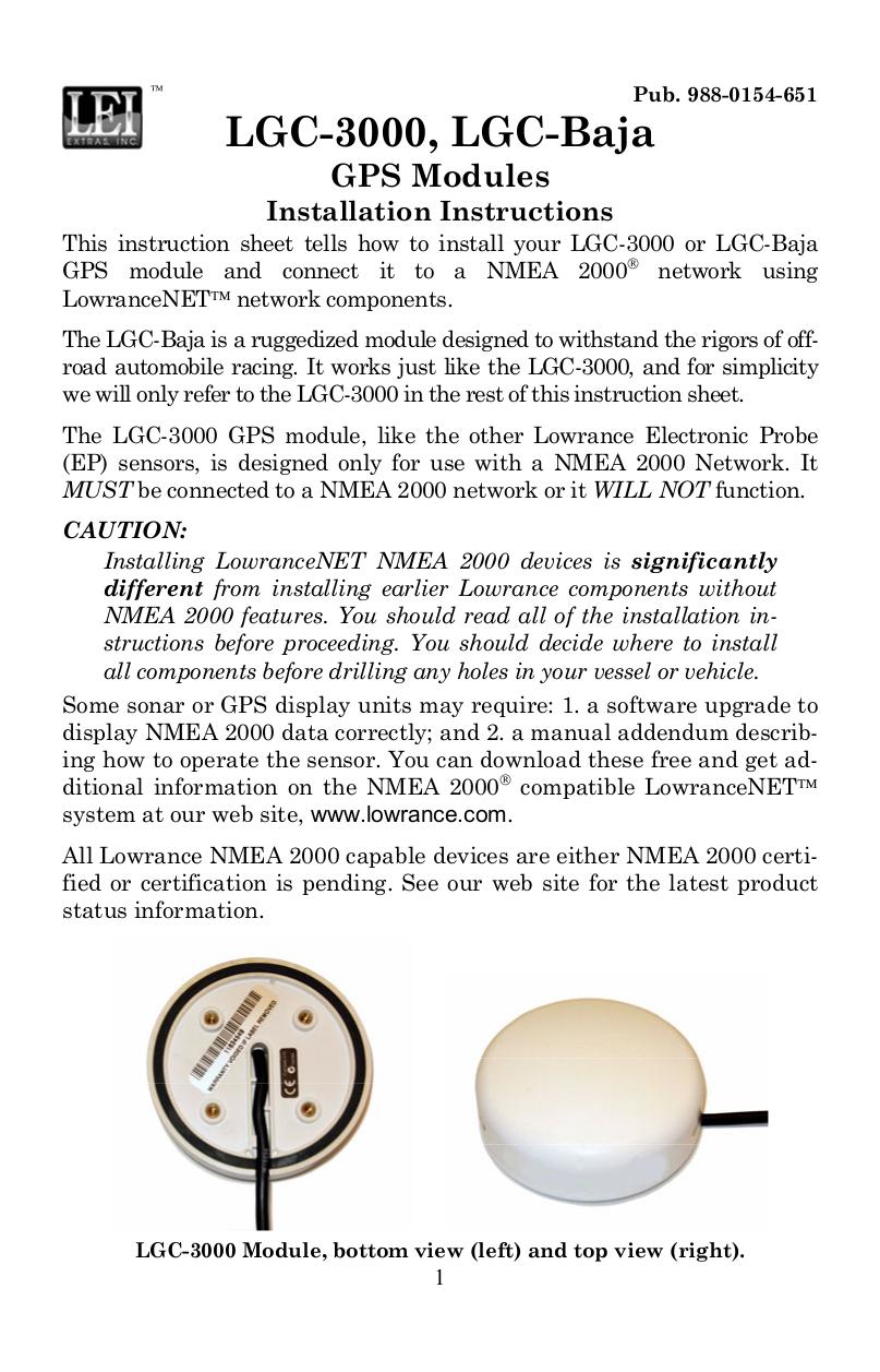 pdf for Lowrance GPS LGC-3000 manual
