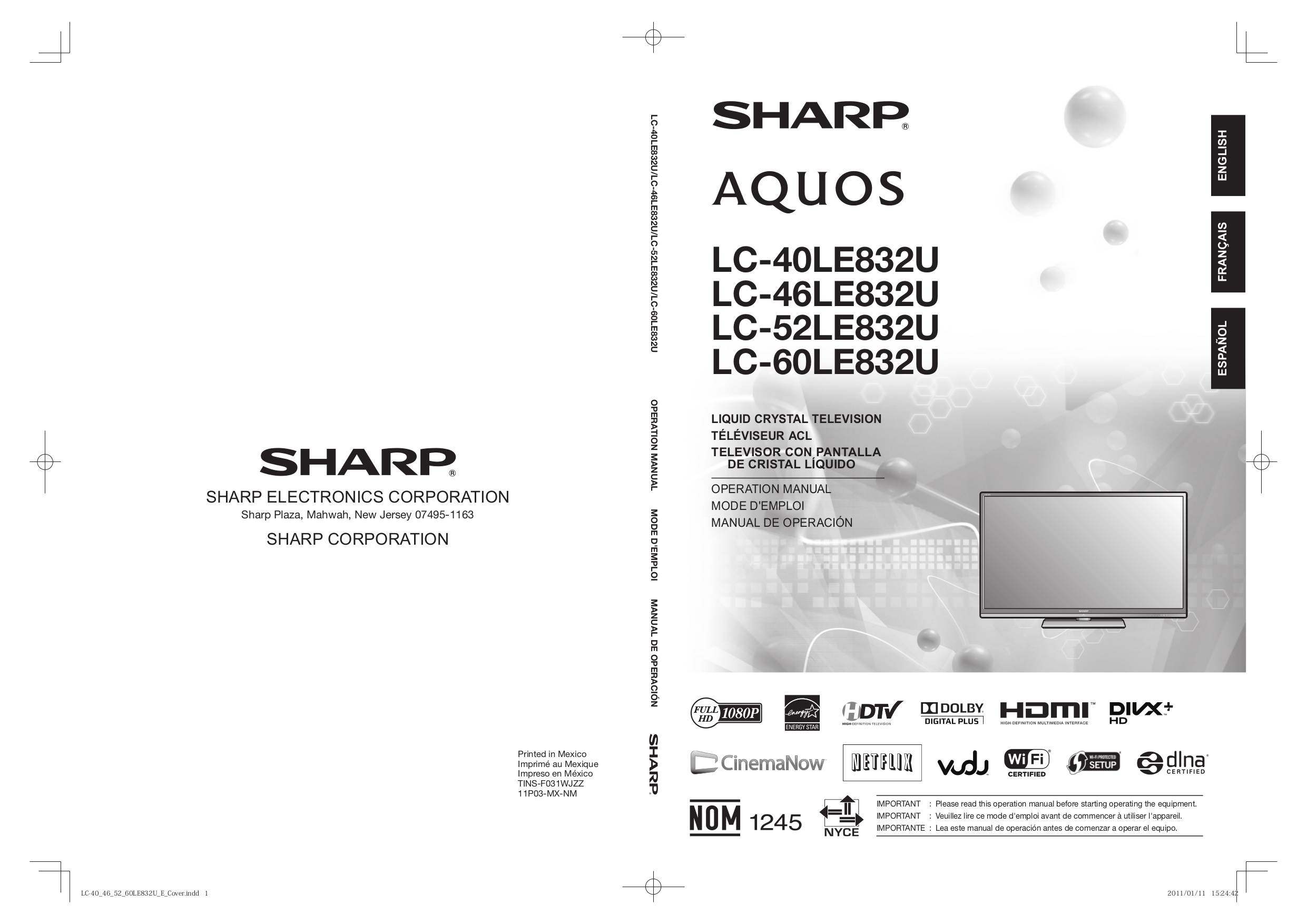 download free pdf for sharp aquos lc 40e67u tv manual rh umlib com Sony PRS-600 User Manual Sharp Operation Manuals