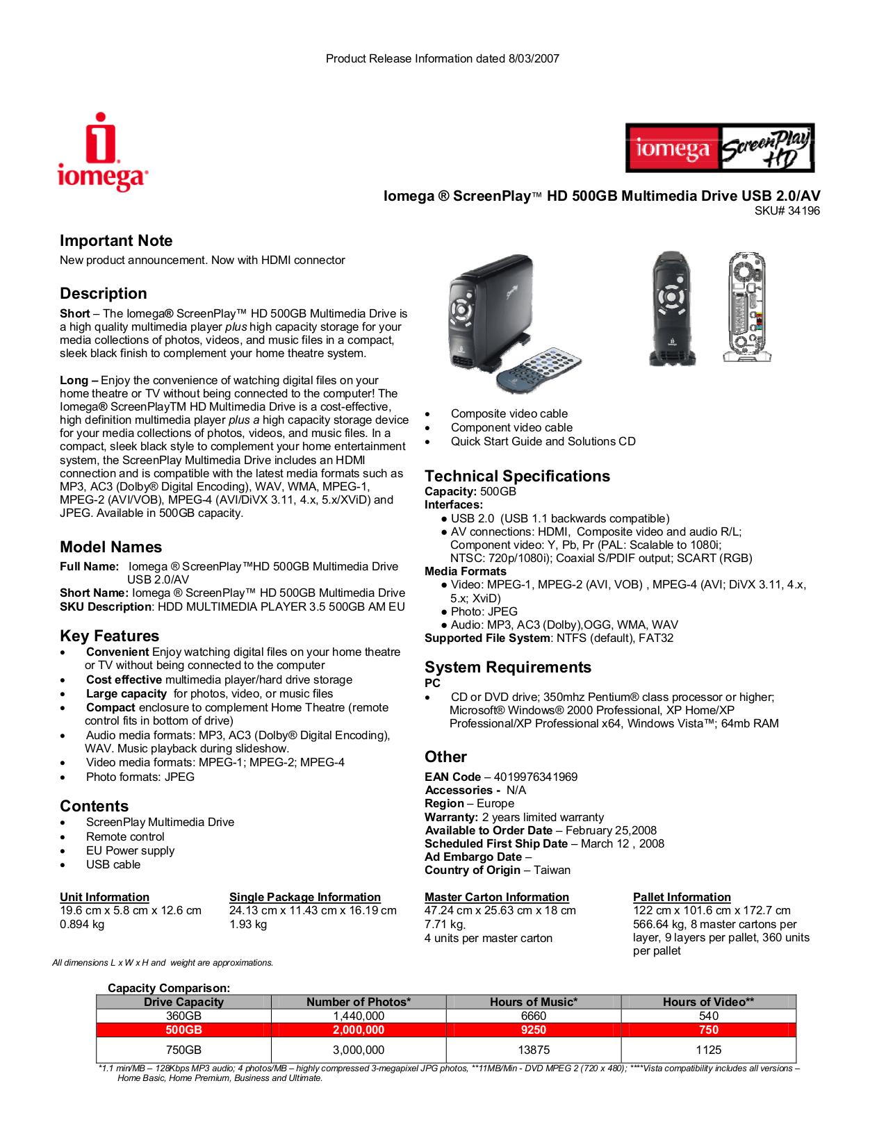 Download free pdf for Iomega ScreenPlay HD 500GB Storage manual