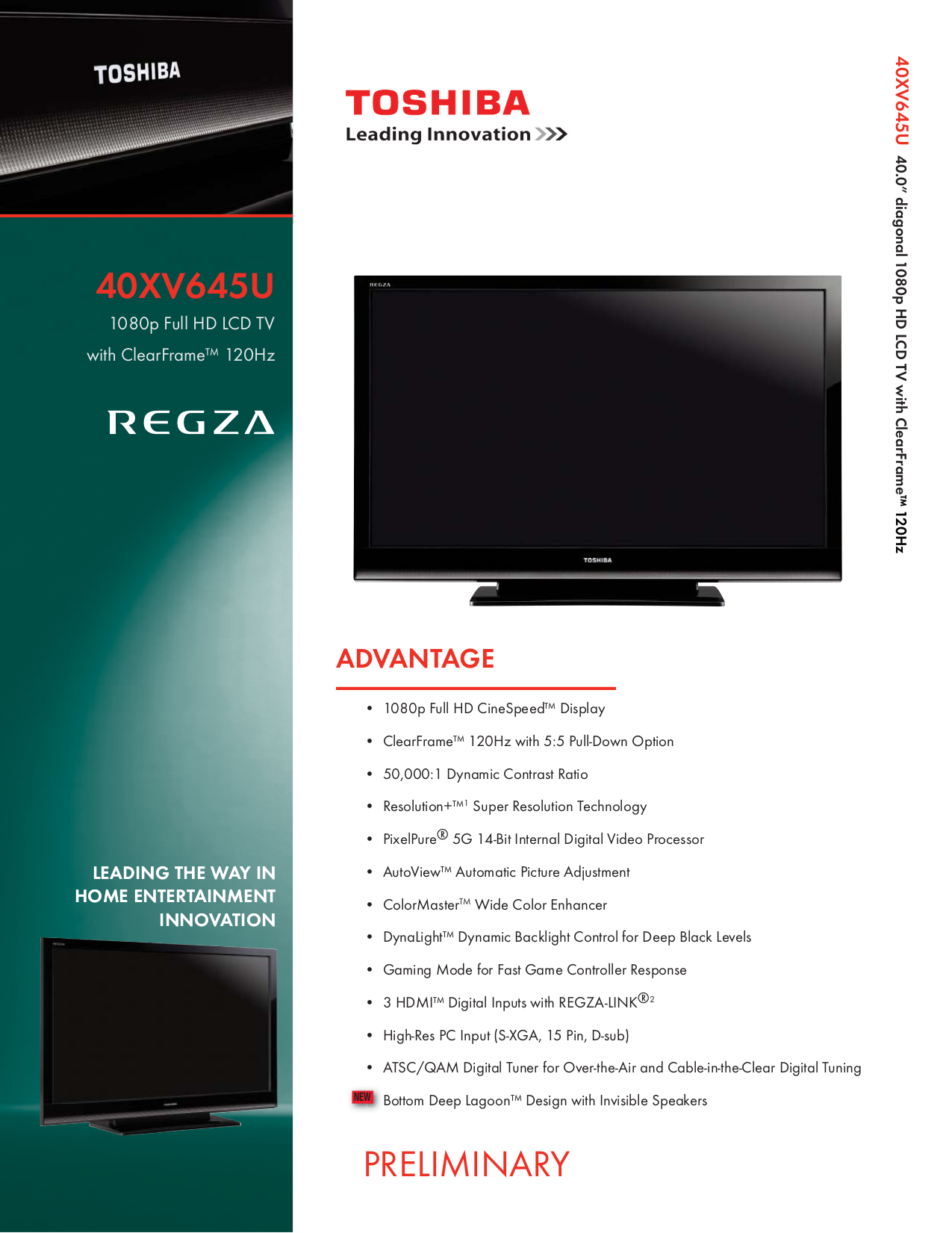 Download free pdf for toshiba regza 40xv645u tv manual.