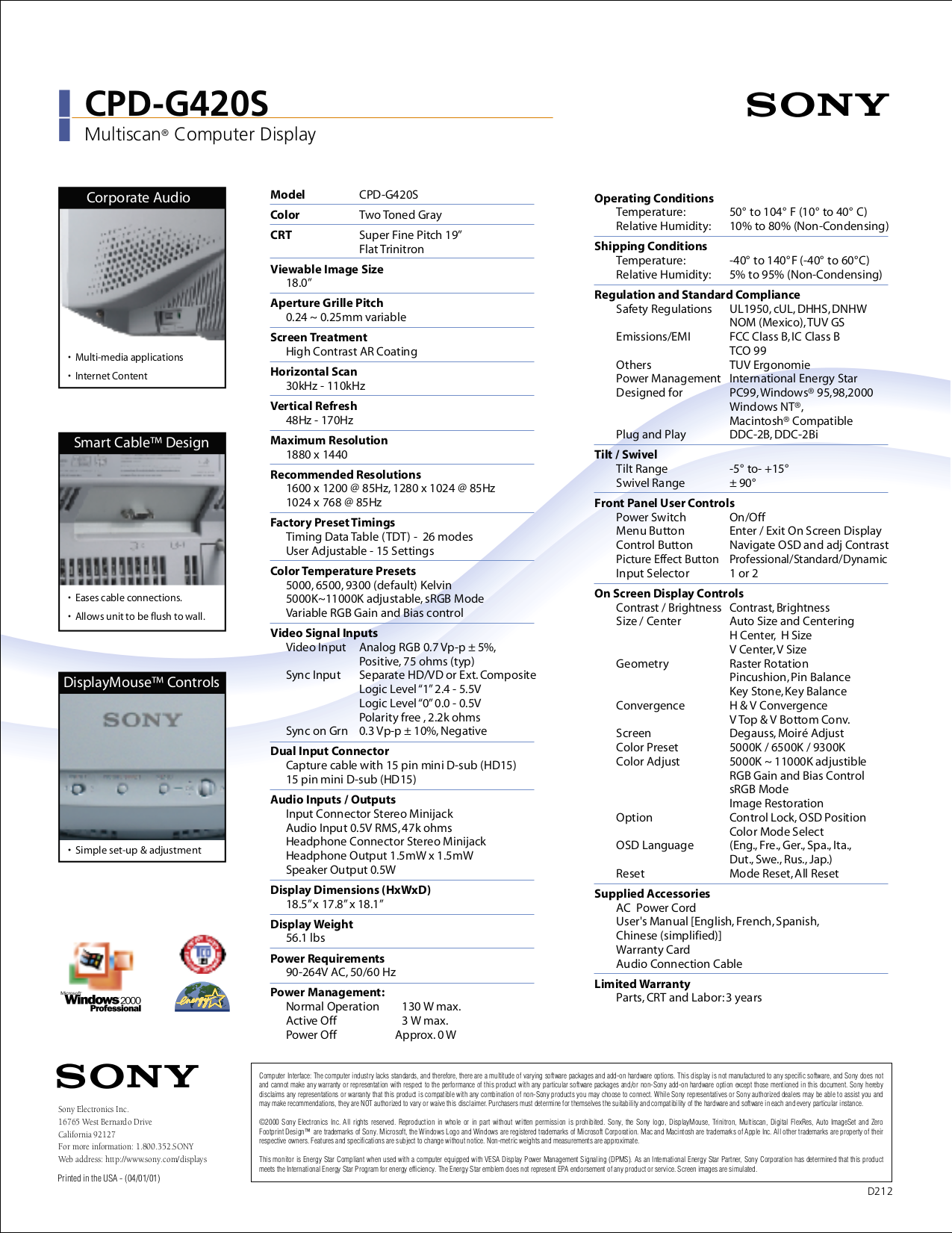 Sony Monitor CPD-G420S pdf page preview