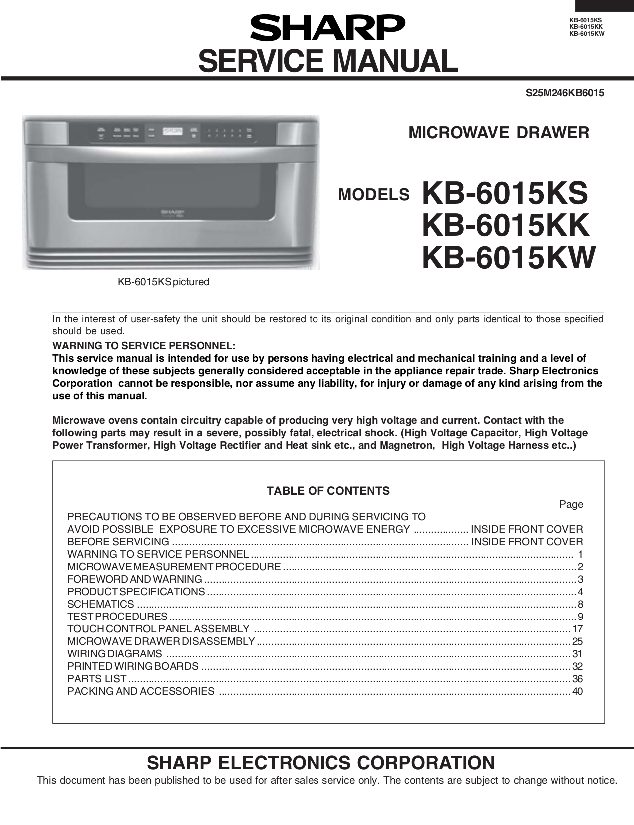 Download Free Pdf For Sharp Kb 6015ks Microwave Manual Drawer Diagram And Parts List Microwaveparts