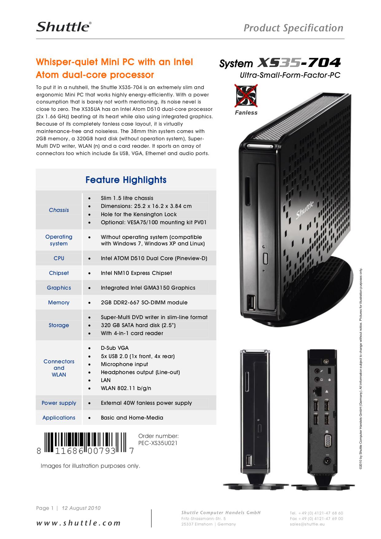 pdf for Shuttle Desktop XS35GT manual