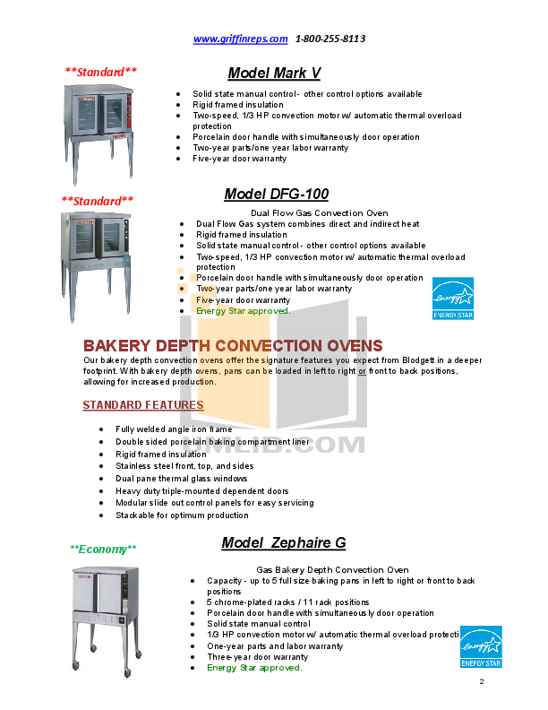 Blodgett Oven XR8-G pdf page preview