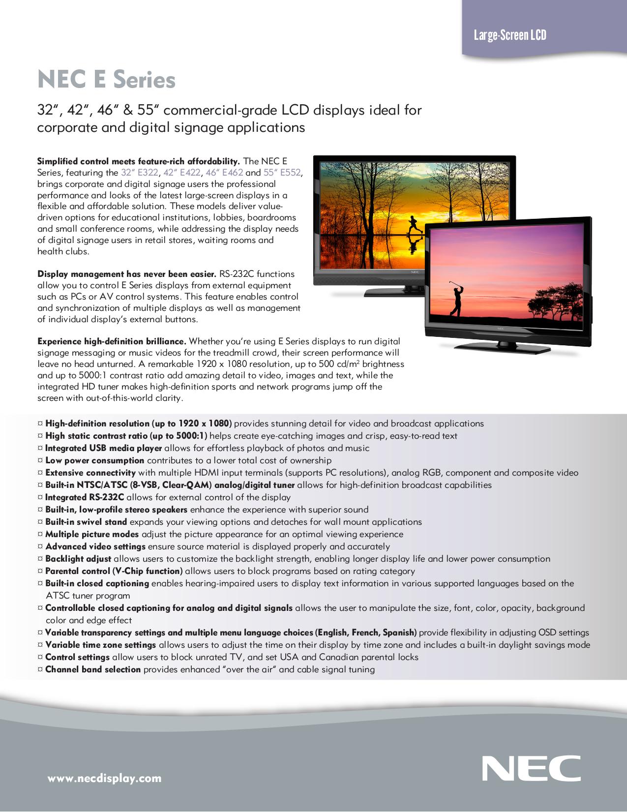 pdf for NEC Plasma TV E462 manual