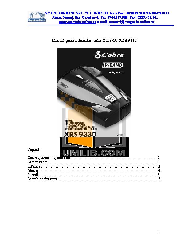Download free pdf for Cobra XRS9340 Radar Detector manual