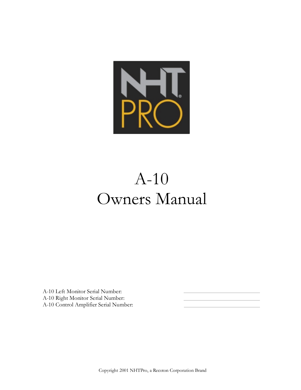 pdf for NHT Other A-10 Monitor System manual