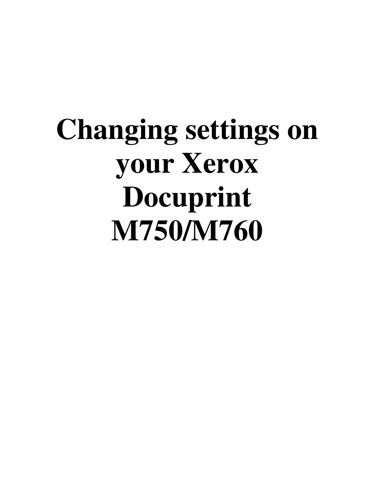pdf for Xerox Printer DocuPrint M750 manual