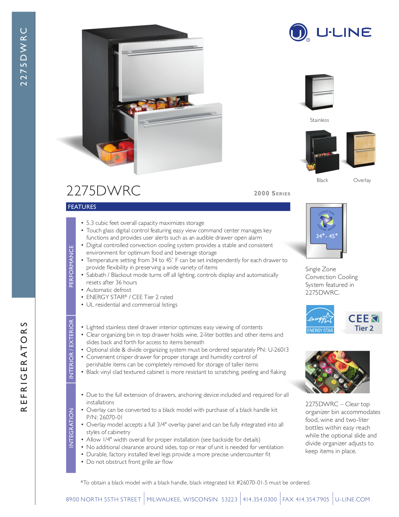 pdf for U-Line Refrigerator 2275DWRCS-00 manual