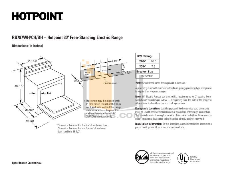 pdf for Hotpoint Range RB787CHCC manual