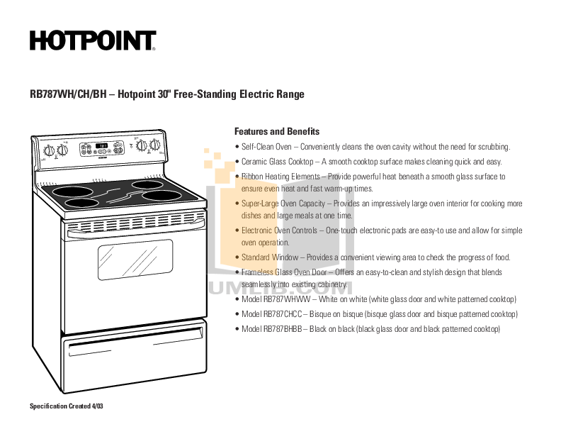 Hotpoint Range RB787CHCC pdf page preview