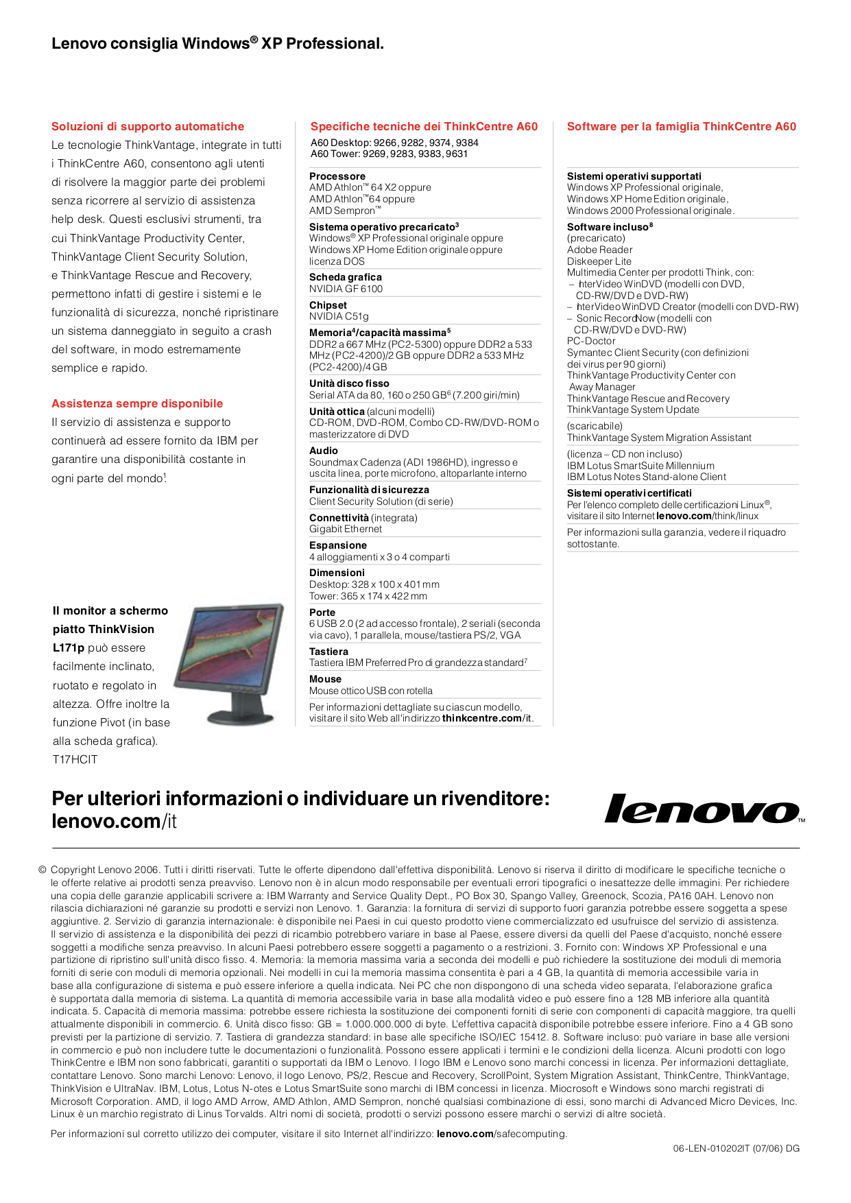 Lenovo Desktop ThinkCentre A60 9266 pdf page preview