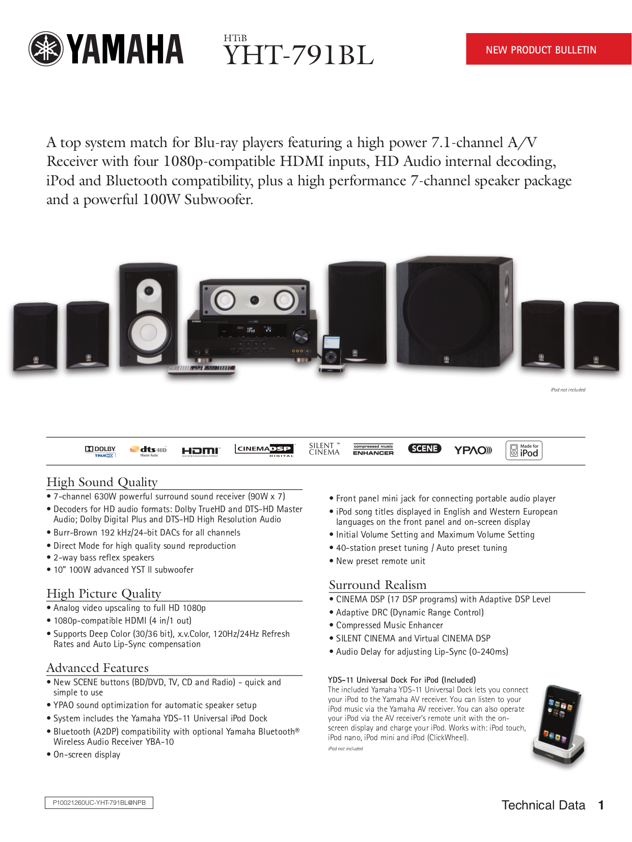 pdf for Yamaha Subwoofer YST-SW216 manual