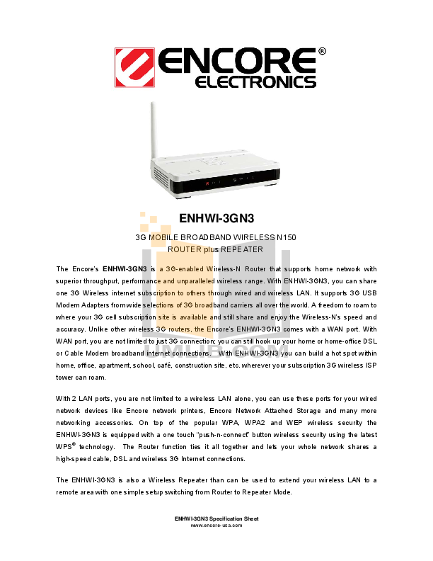pdf for Encore Wireless Router ENHWI-G3 manual