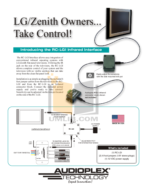 pdf for Audioplex Other RC-LGI Infrared Interface manual