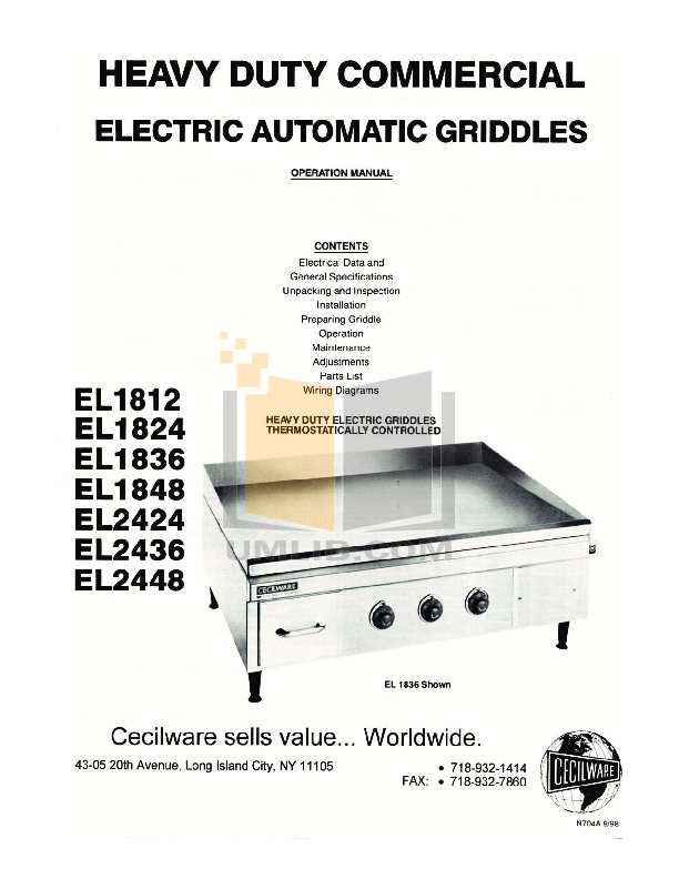 pdf for Cecilware Other EL-1836 Griddles manual