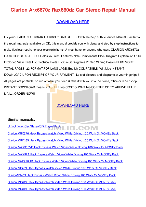 download free pdf for clarion dxz645mp car receiver manual rh umlib com