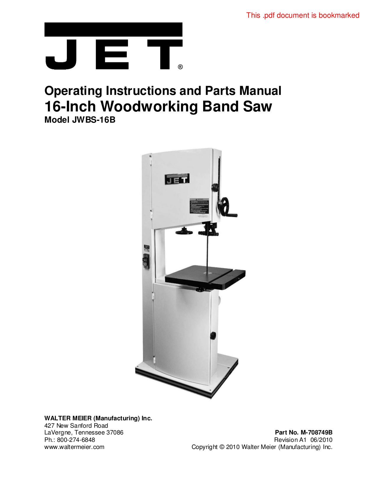 pdf for Jet Other JWBS-18X-3 Bandsaw manual