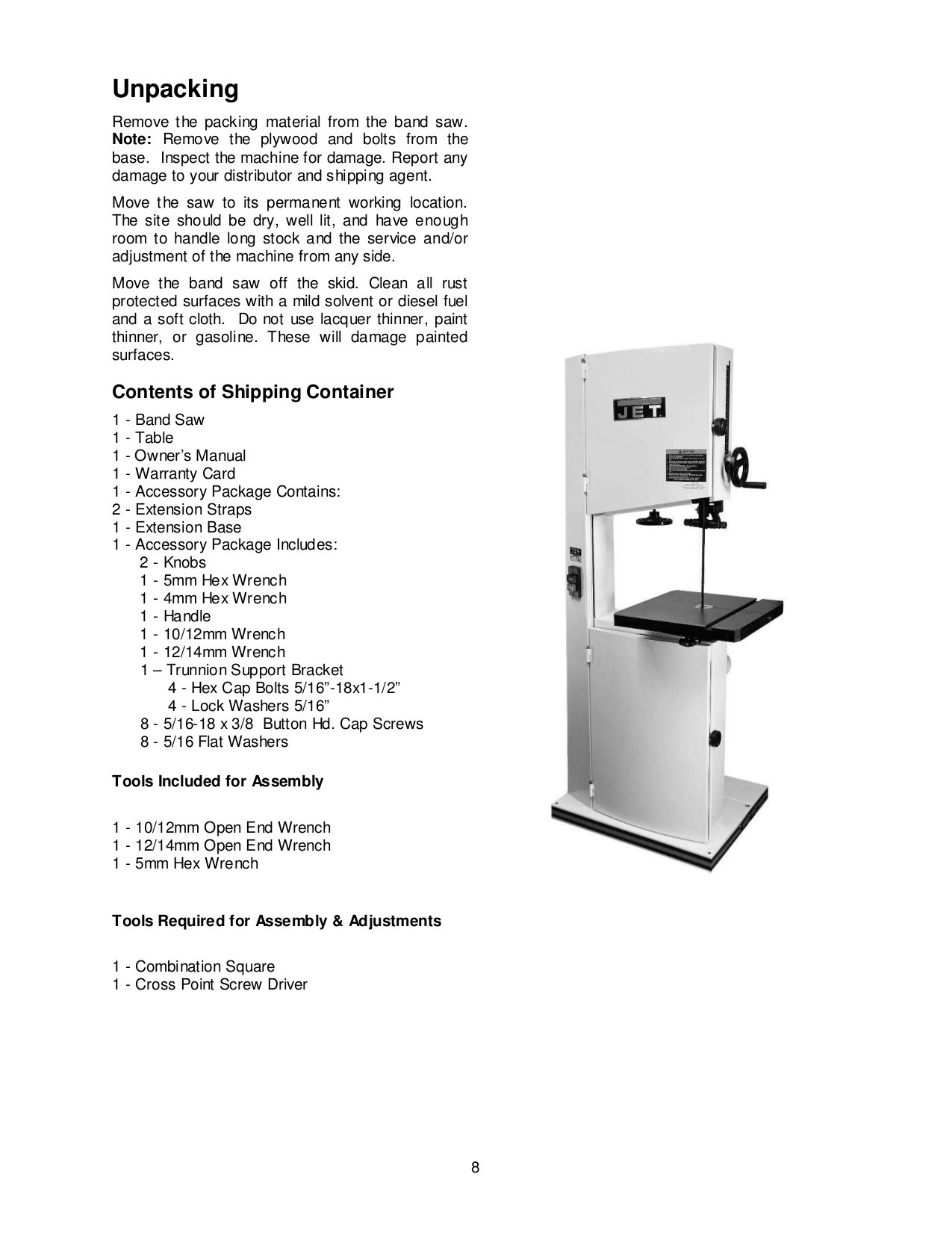 ... Jet Other JWBS-18X-3 Bandsaw pdf page preview