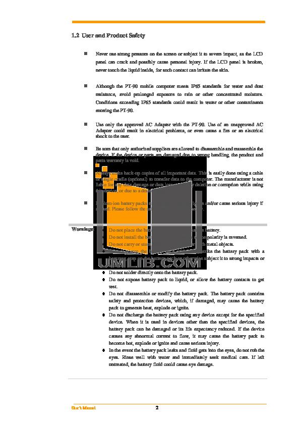 Argox PDA PT-80 pdf page preview