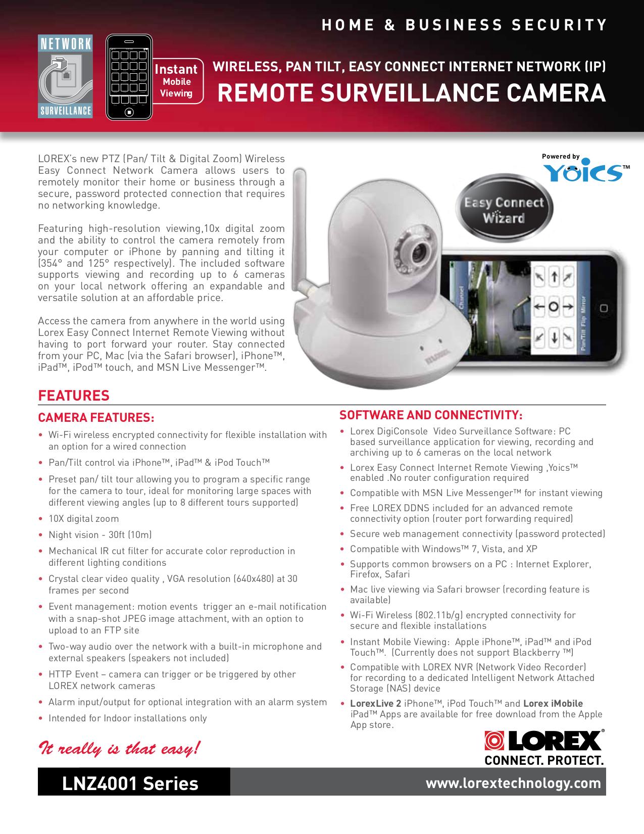 Download free pdf for Lorex LNZ4001 Security Camera manual