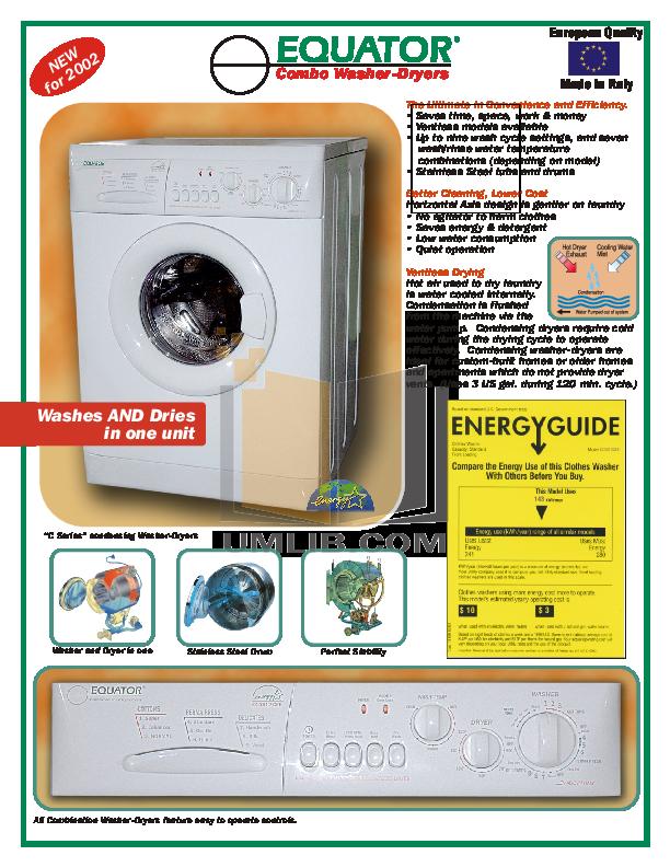 pdf for Equator Washer EZ1612 V manual
