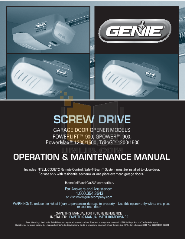 Download Free Pdf For Genie Screw Drive Garage Door Opener Other Manual