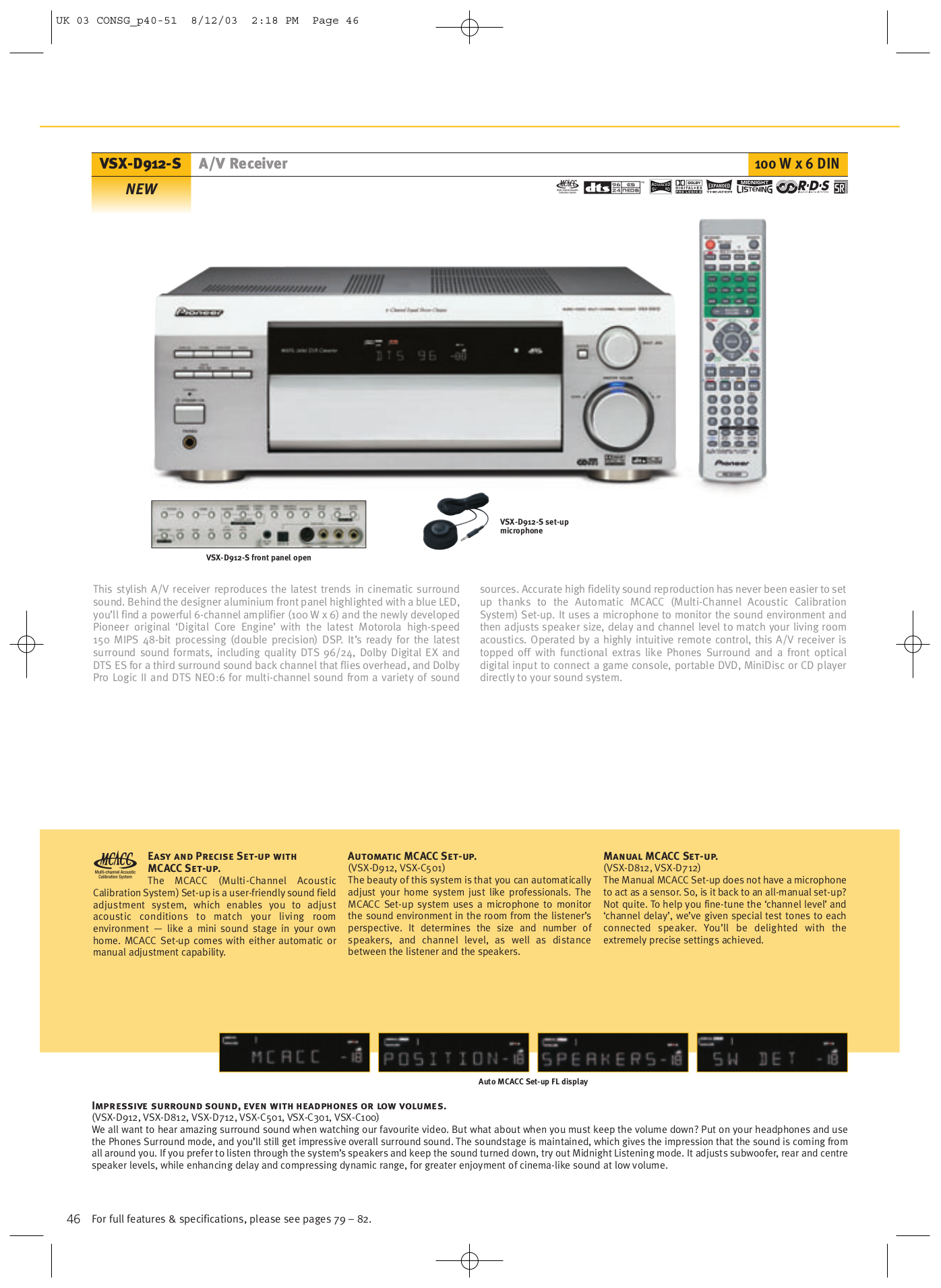 ... Pioneer Receiver VSX-D712 pdf page preview ...