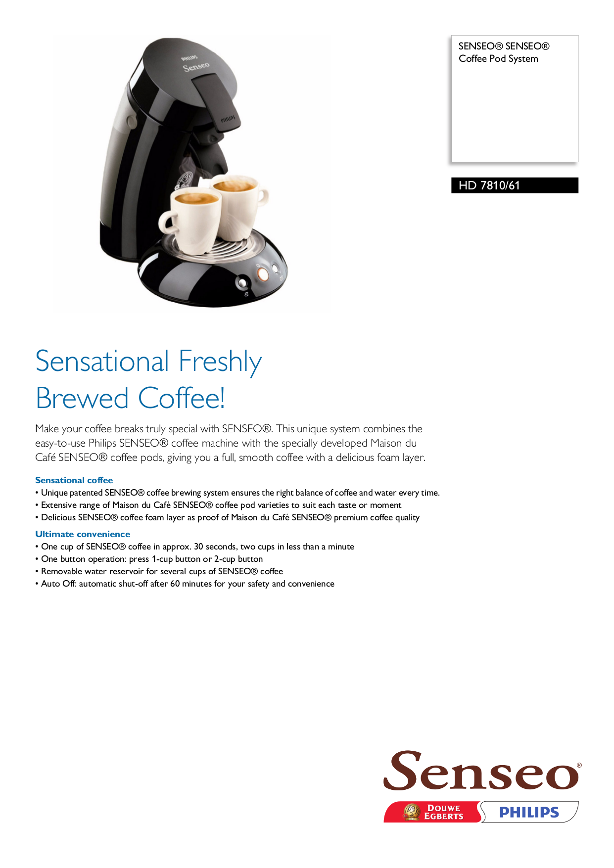 Senseo Coffee Maker Repair Manual : Download free pdf for Philips Senseo HD7810 Coffee Maker manual