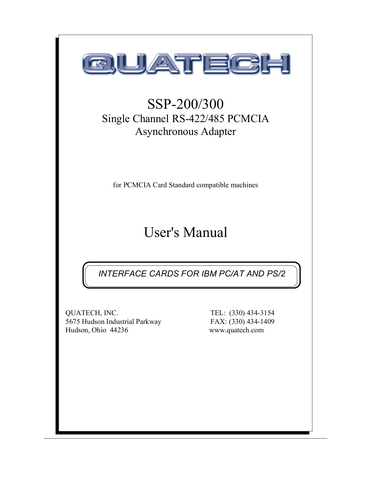 pdf for Quatech Other SSP-200 PCMCIA Cards manual