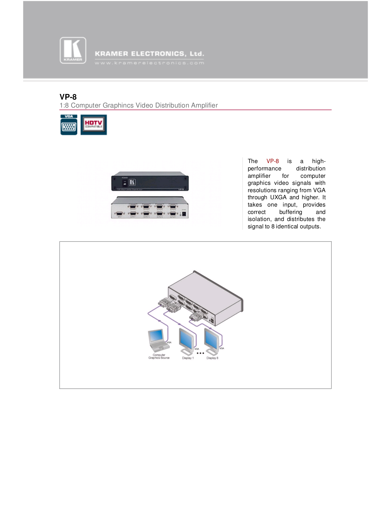 Kramer Other VP-8 Distribution Amplifiers pdf page preview
