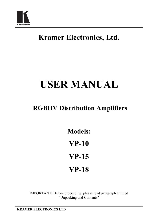 pdf for Kramer Other VP-8 Distribution Amplifiers manual