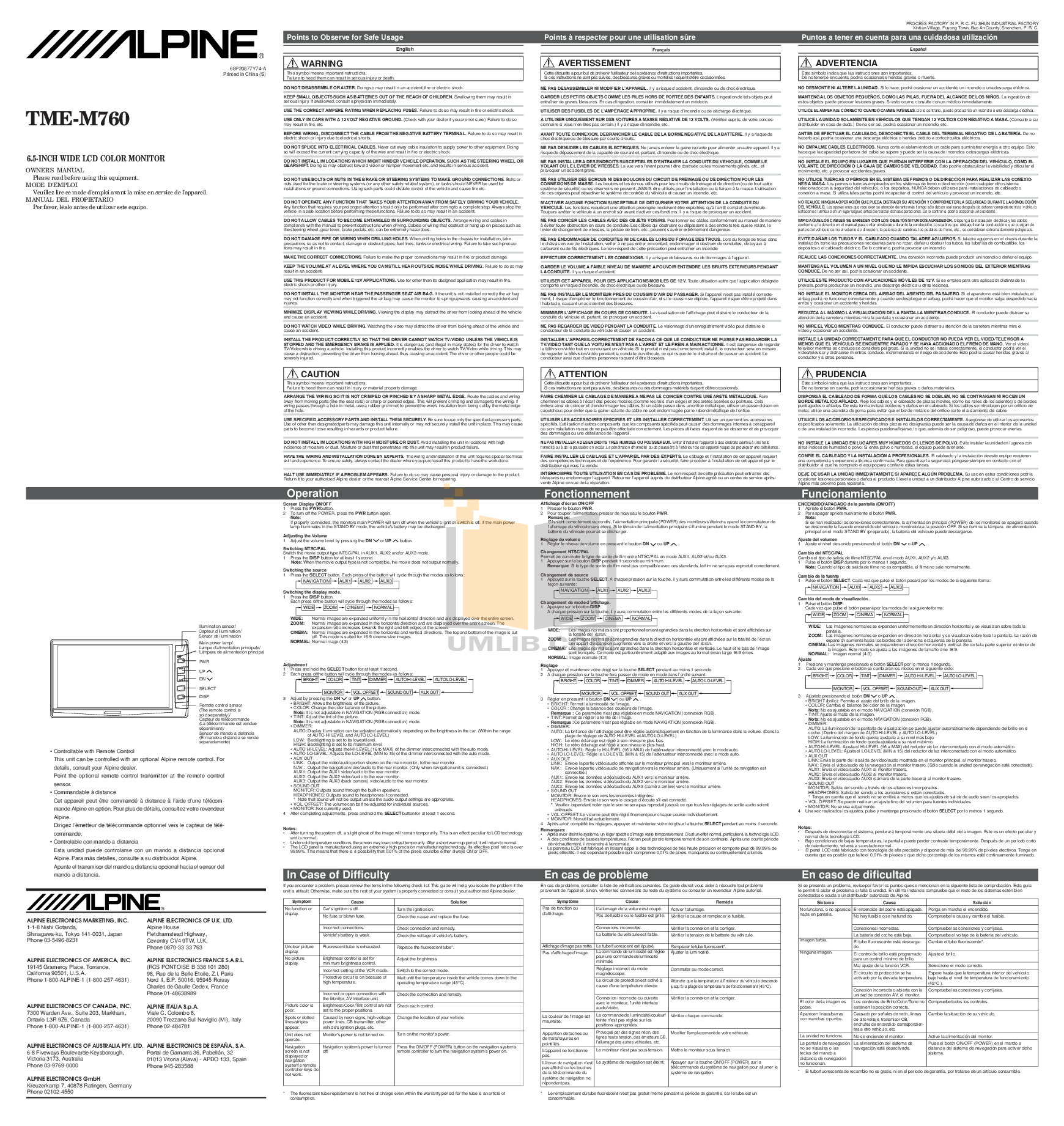 pdf for Alpine Car Video TME-M760 manual