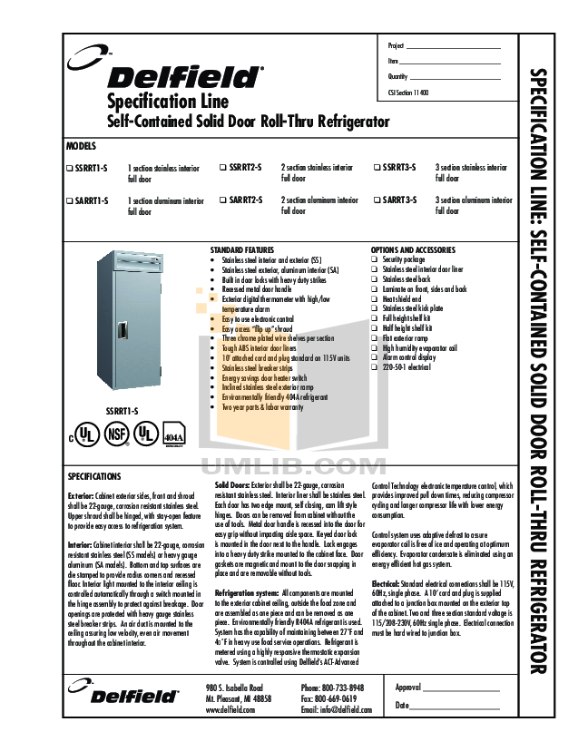 pdf for Delfield Refrigerator SARRT1-S manual