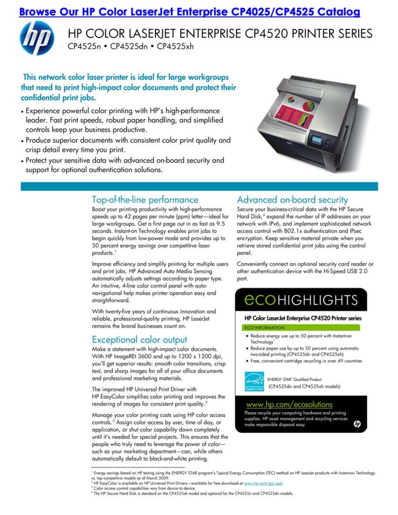 pdf for HP Printer Laserjet,Color Laserjet CP4525N manual