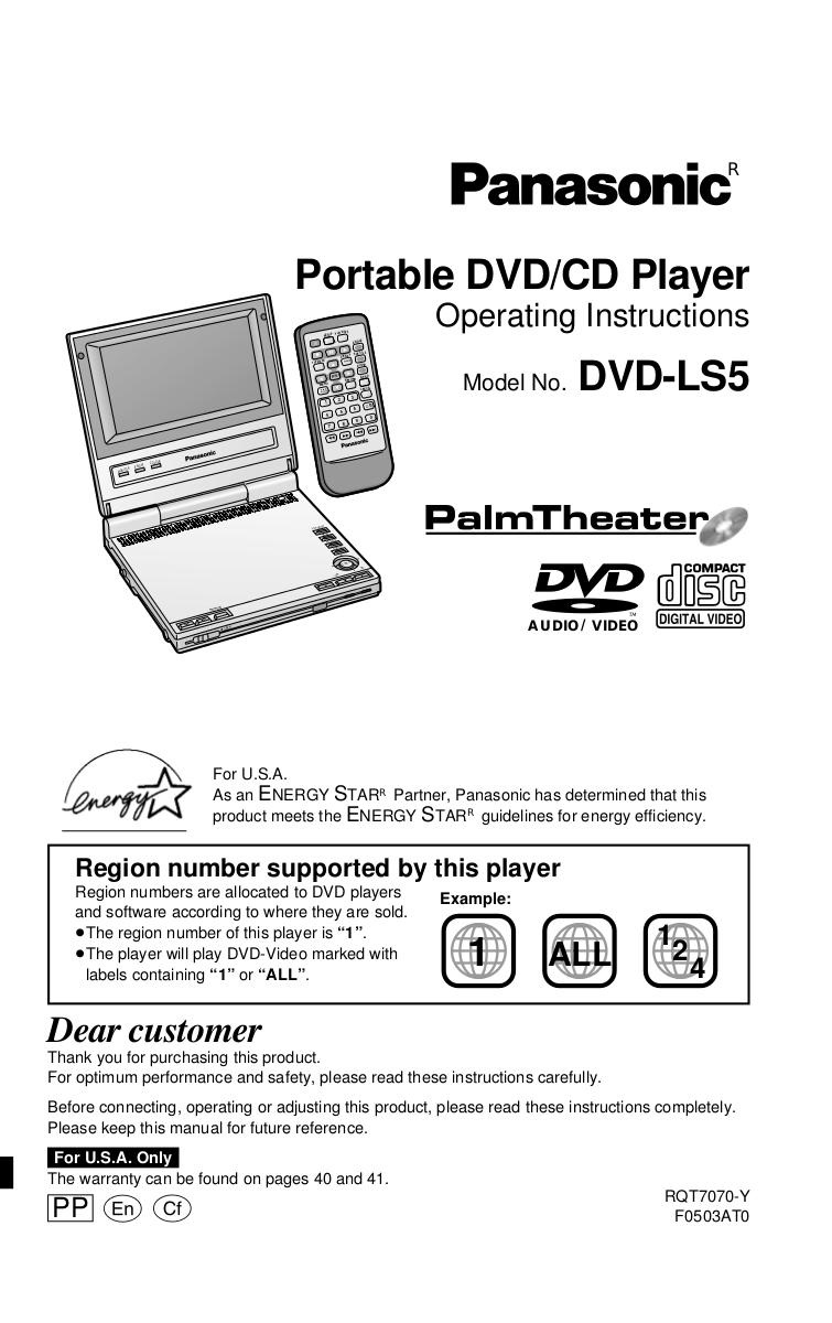 download free pdf for panasonic dvd ls5 portable dvd player manual rh umlib com panasonic blu ray dvd player user manual Manual for Panasonic Model SA-HT700 DVD Player