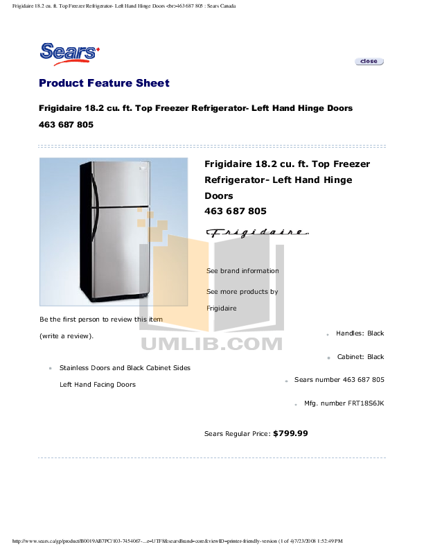 pdf for Frigidaire Refrigerator FRT18S6JK manual