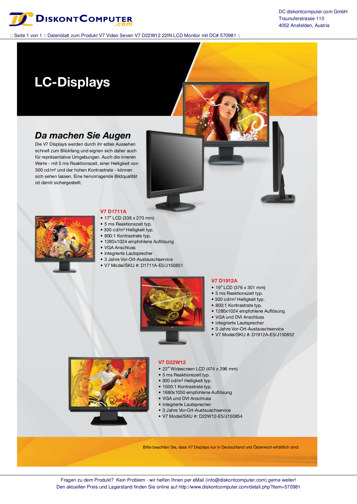 pdf for Videoseven Monitor D22W12 manual