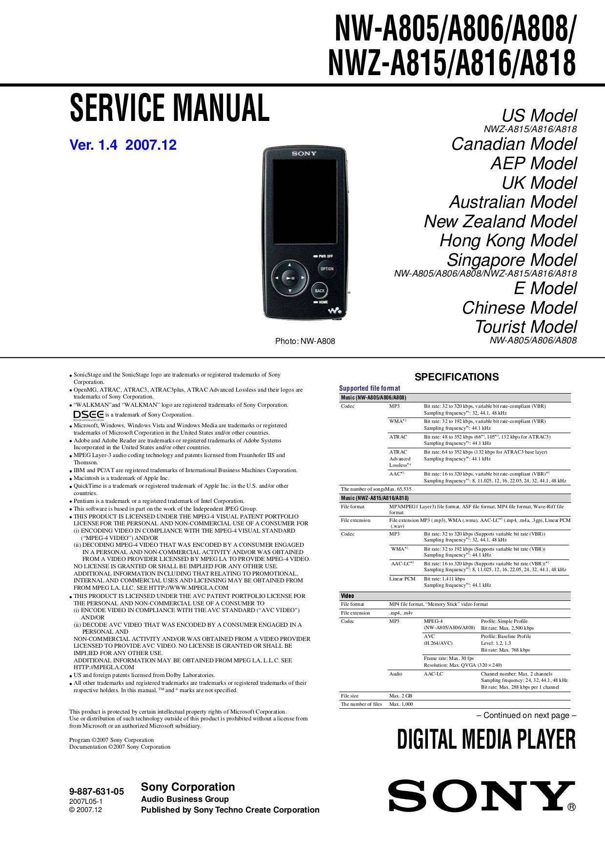 pdf for Sony MP3 Player Walkman NW-E2 manual