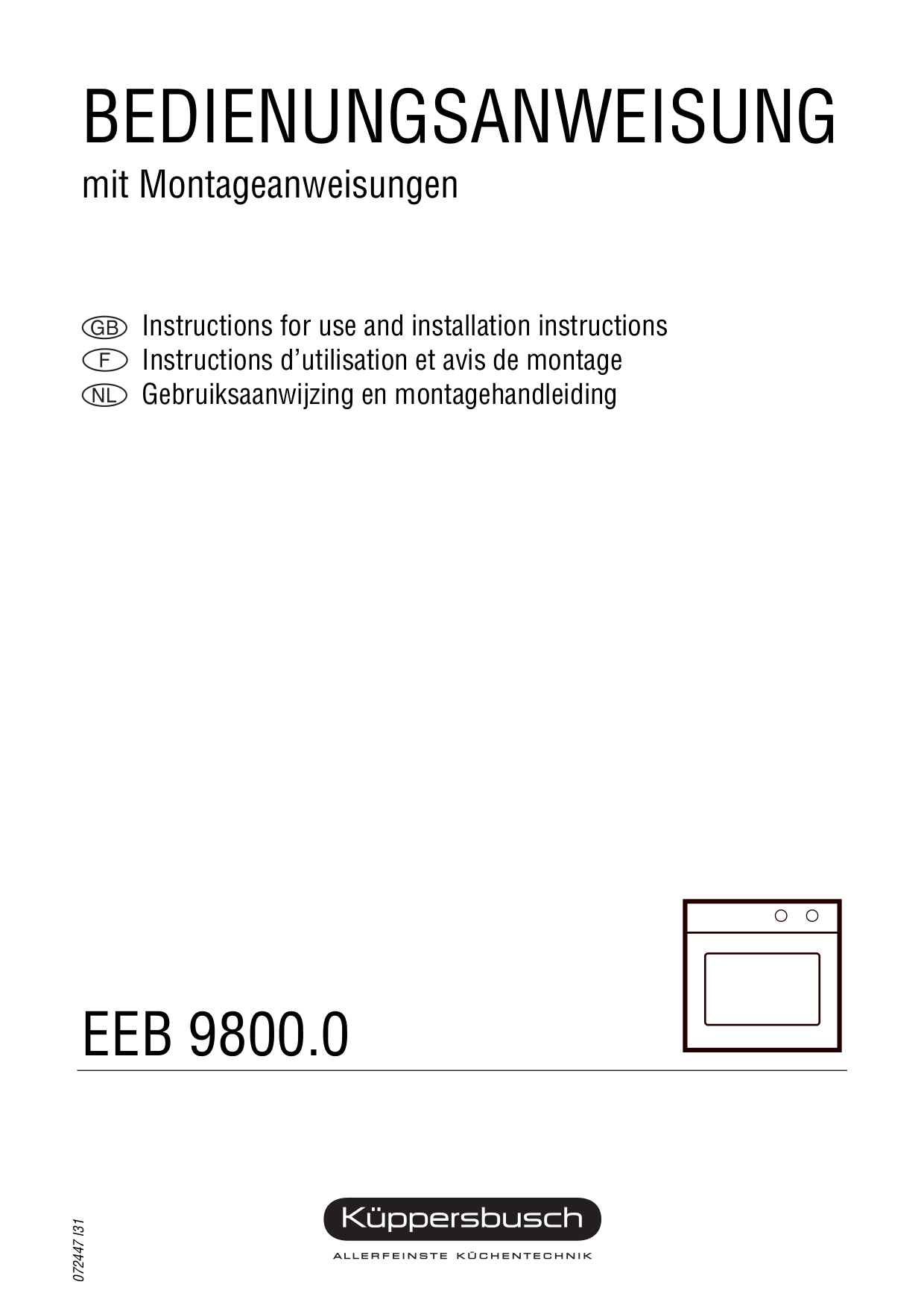 pdf for Kuppersbusch Oven EEB 9800.0 manual