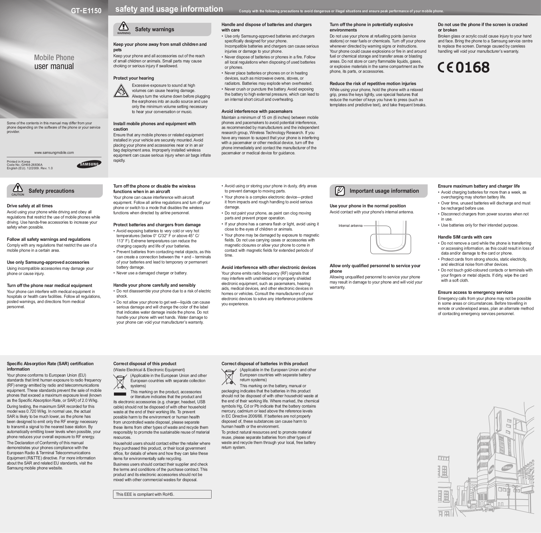 pdf for Samsung Cell Phone E1150 manual