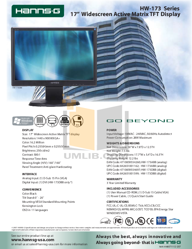 pdf for HannsG Monitor HW173DBB manual