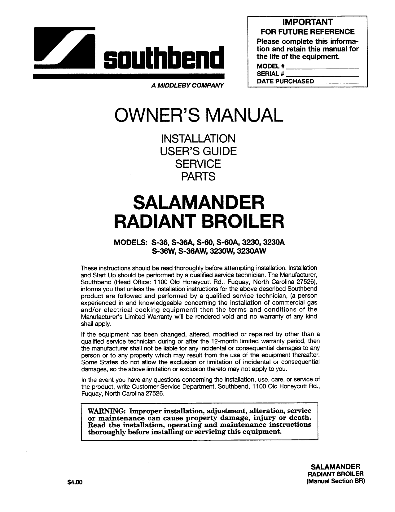 pdf for Southbend Other 270A Broilers manual