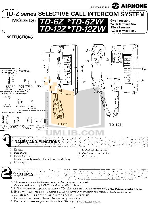 pdf for Aiphone Other DE-UR Intercoms-Accessory manual