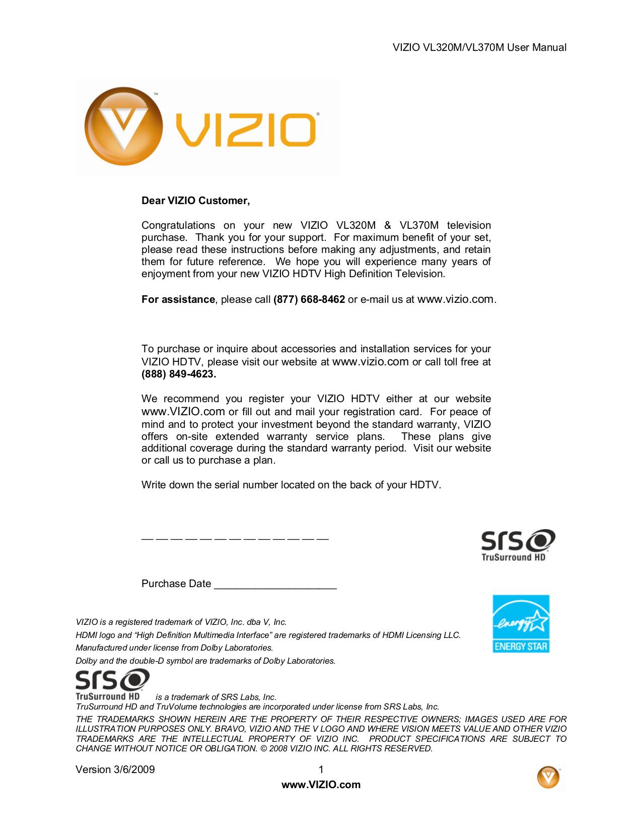 ... Array - download free pdf for vizio vl320m tv manual rh umlib com