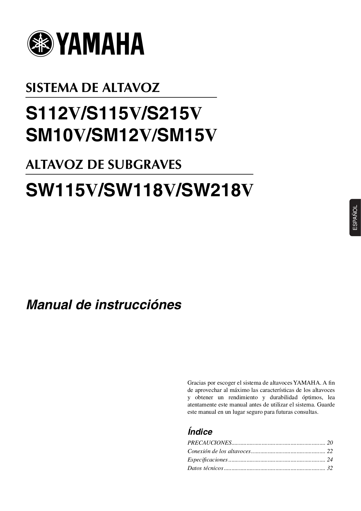 Download free pdf for yamaha s115v speaker manual